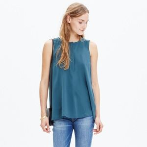 Madewell Blue 100% Silk Composition Tank Top